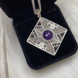 New silver filigree rhombus w/amethyst necklace